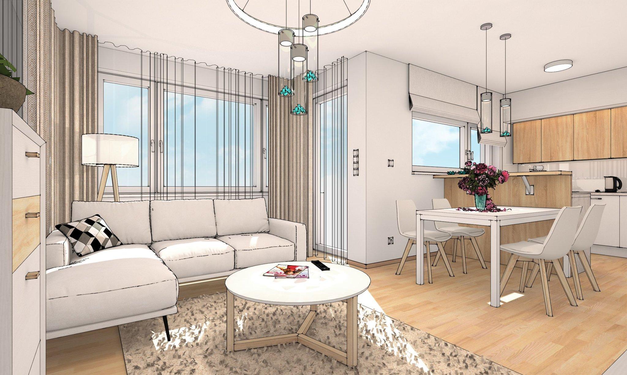 návrh interiéru obytného prostoru bytu
