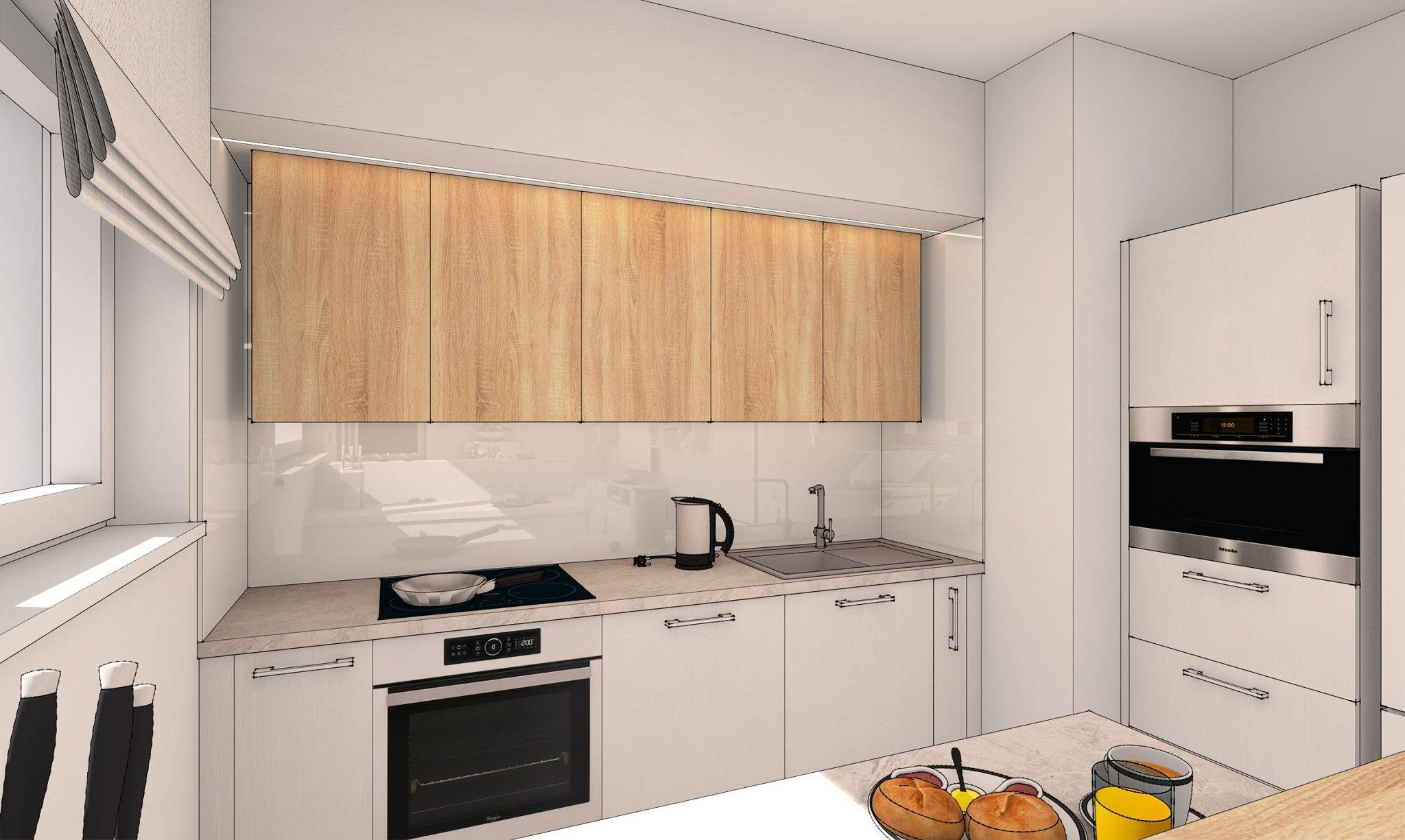 návrh interiéru kuchyně s jídelnou