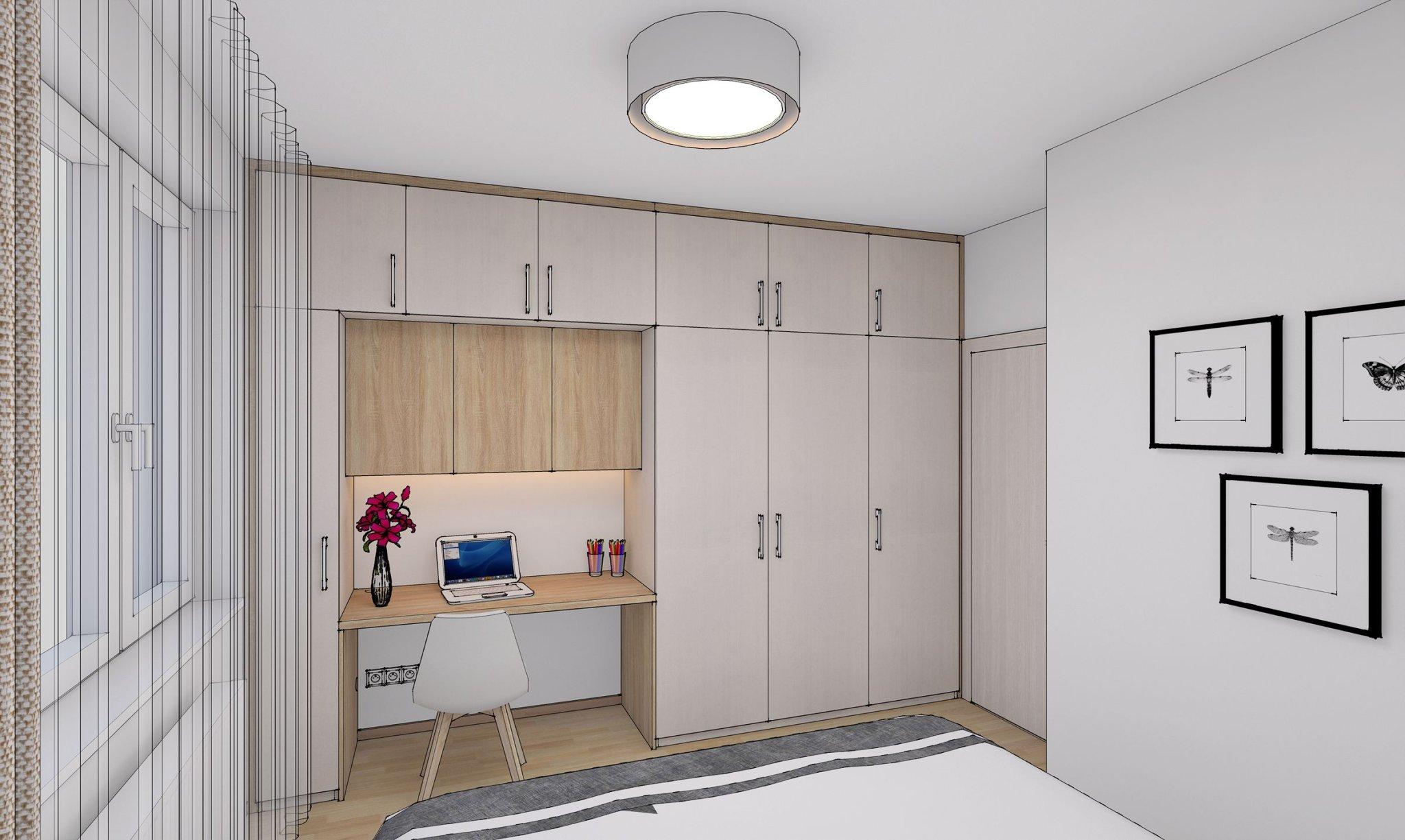 návrh interiéru bytu - ložnice
