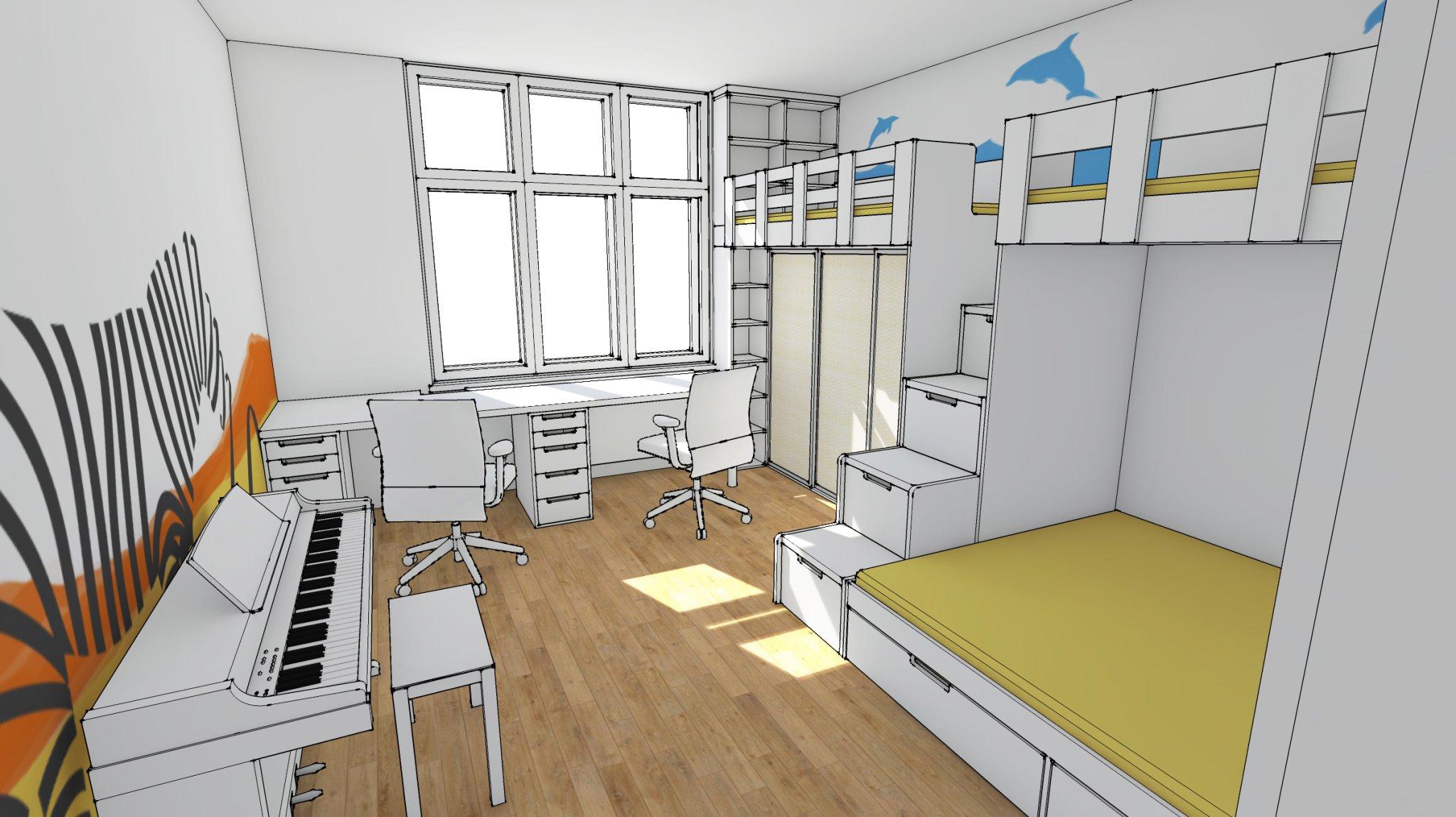 návrh dětského pokoje - vizualizace