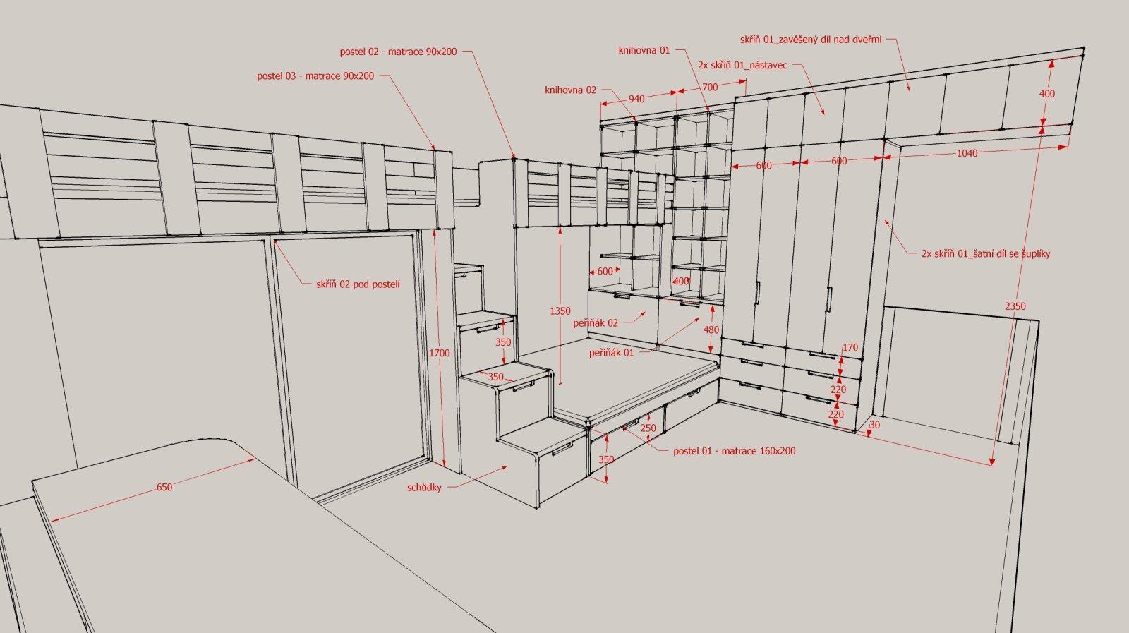 návrh dětského pokoje - podklady pro truhláře